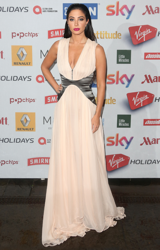Tulisa Contostavlos wears a pale pink gown at the Attitude Magazine Awards in London - 13 October 2014