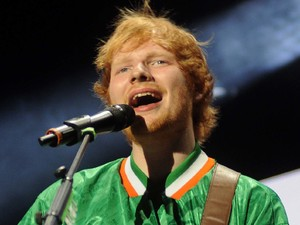 Ed Sheeran performs at 3Arena in Dublin wearing an Irish football jersey 10/03/2014 LoDublin, United Kingdom