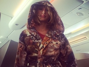 Taylor Swift in her best outfit yet - a dressing gown covered in cats!
