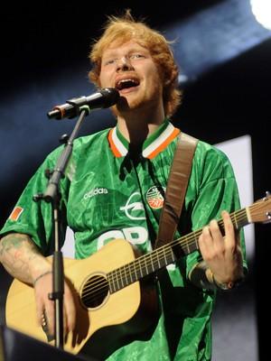 Ed Sheeran performs at 3Arena in Dublin wearing an Irish football jersey 10/03/2014 LoDublin, United Kingdom