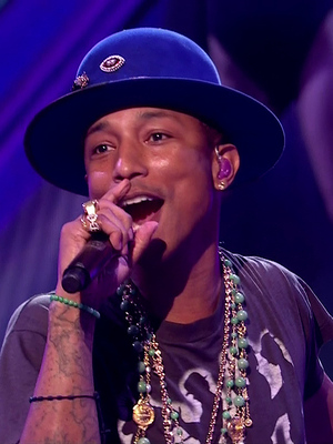 Pharrell Williams performing 'Gust of Wind' on the results show of 'The X Factor'. Shown on ITV1 HD - 19 October.