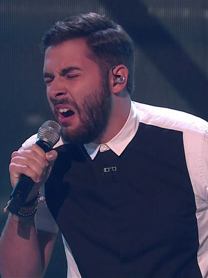 Andrea Faustini performing on the first live show of 'The X Factor'. Shown on ITV1 HD.