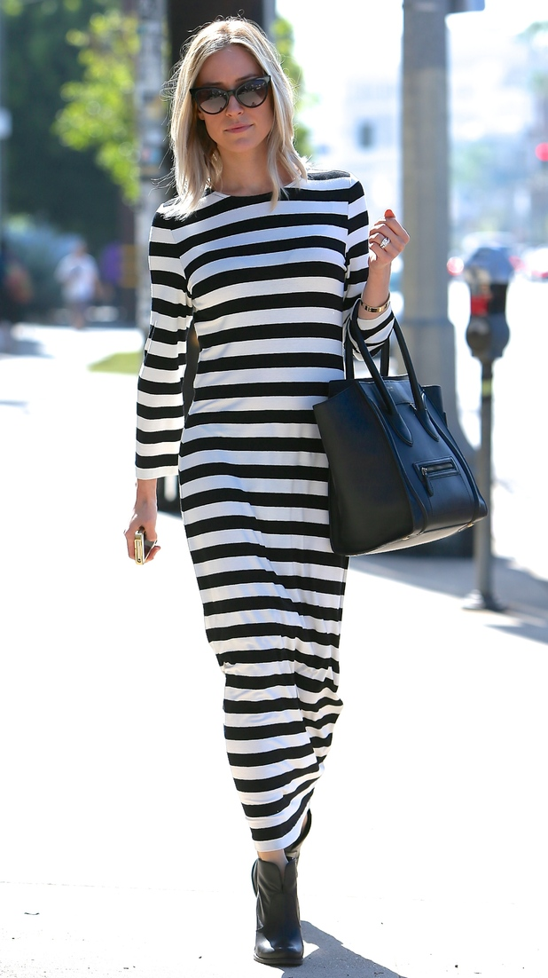 Kristin Cavallari wears a monochrome striped maxi dress while shopping in Los Angeles, America - 23 October 2014