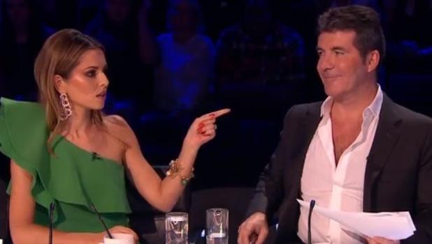 X Factor's Simon Cowell and Cheryl Fernandez-Versini on week two - ITV - 18 October 2014.