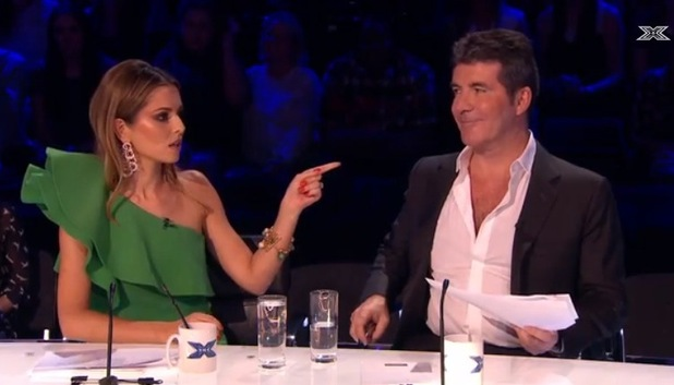X Factor's Simon Cowell and Cheryl Fernandez-Versini on week two - ITV - 18 October 2014.