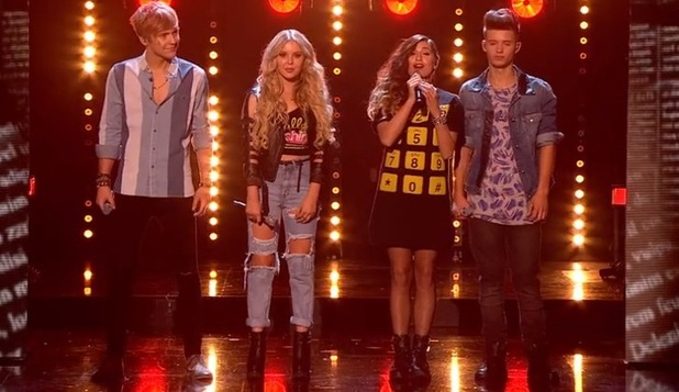 Only The Young's Mikey Bromley, Charlie George, Parisa Tarhomani and Betsy-Blue English perform on The X Factor - 18 October 2014