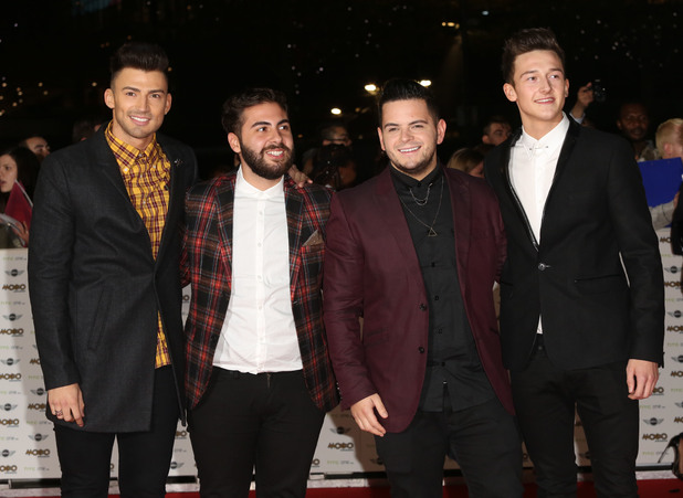 X Factor boys at The MOBO Awards 2014 held at Wembley arena - Arrivals. 23 October 2014.