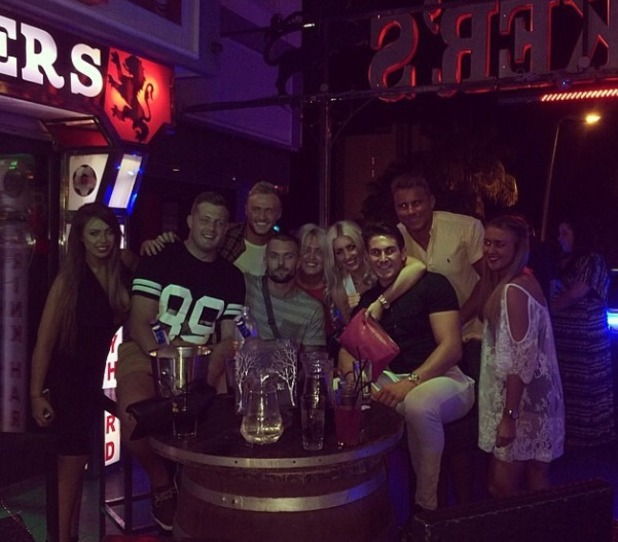 Holly Hagan in Tenerife with her mates, Oct 2014.