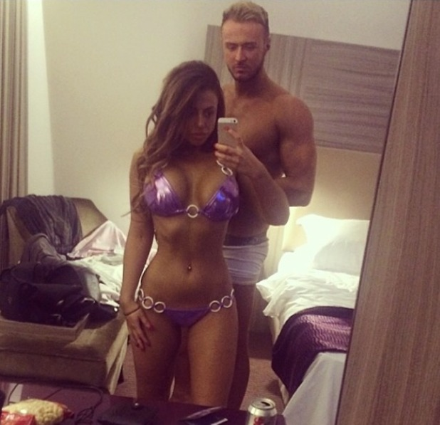 Holly Hagan and Kyle Christie show off their figures, Oct 2014.
