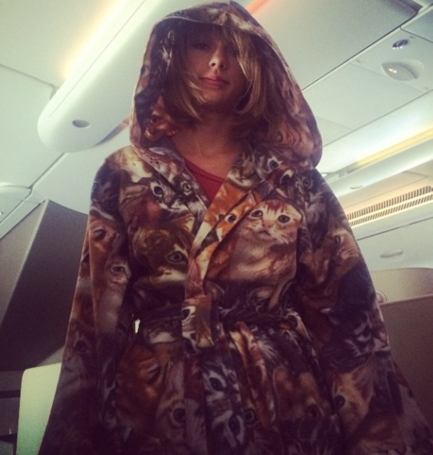 Taylor Swift in cat dressing gown, Instagram, 21/10/14