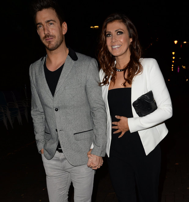 Kym Marsh and Dan Hooper leave Rosso, Manchester, 24 Oct.