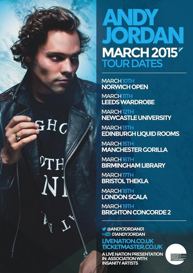 Made In Chelsea star Andy Jordan releases UK tour dates - 20 October.