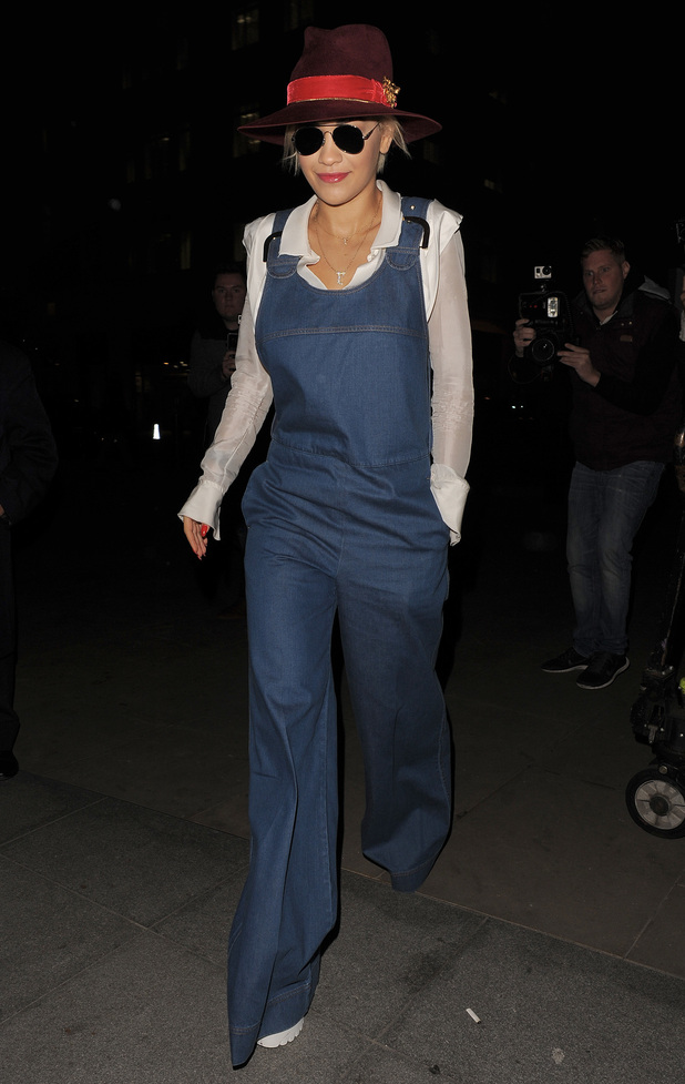Rita Ora wears denim overalls while out in London, England - 20 October 2014