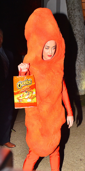 Katy Perry dresses up as a cheeto for Halloween, Kate Hudson's party, LA 30 October