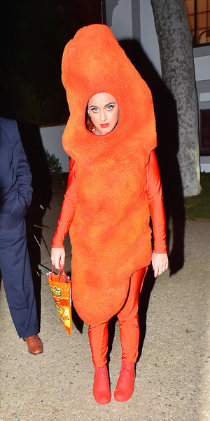 Katy Perry dresses up as a cheeto for Kate Hudson's Halloween party, LA 30 October