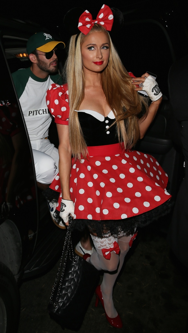 Paris Hilton dresses as Minnie Mouse while attending the Casamigos Tequila Halloween party in Los Angeles - 25 October 2014