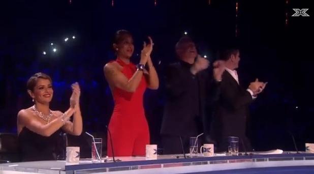 X Factor judges applaud Stereo Kicks ater their medley - 27/10/14