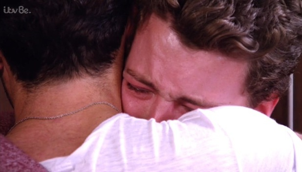 James Bennewith is comforted by Tom Pearce following fallout with Fran Parman, TOWIE 29 October