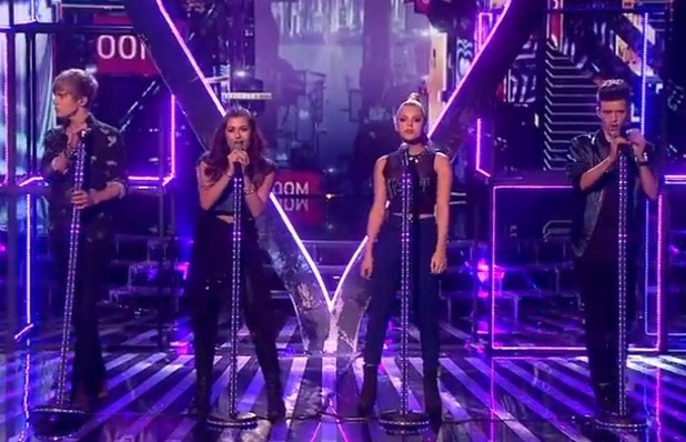 Only The Young's Mikey Bromley, Charlie George, Parisa Tarhomani and Betsy-Blue English perform on The X Factor - 25 October 2014