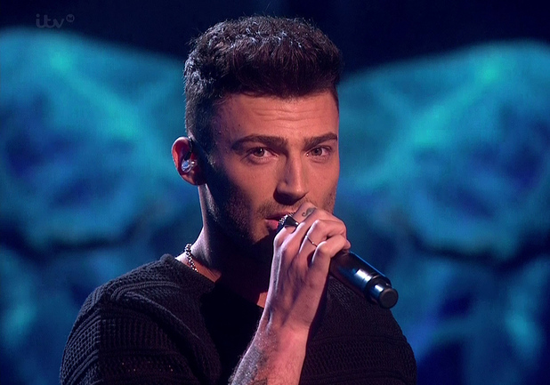 Jake Quickenden performing 'She's Like The Wind' on the 'Saturday Night at the Movies' edition of the 'The X Factor'. 26/10/14.