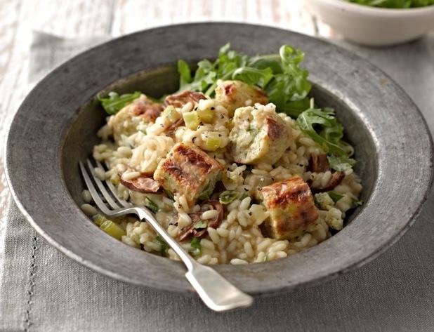 Vegetarian sausage risotto