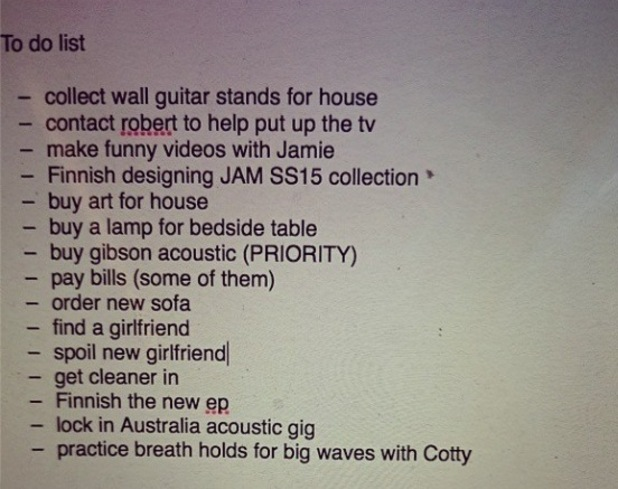 Made In Chelsea's Andy Jordan shares new to-do list - 27 October 2014.