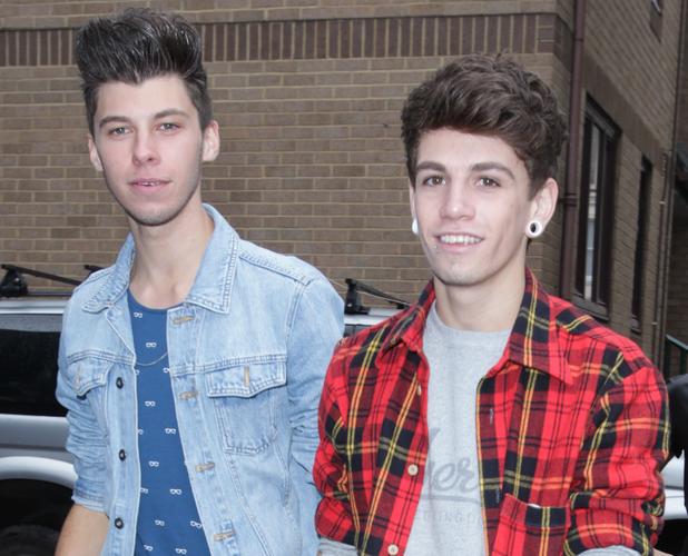 Stereo Kicks' James Graham and Jake Sims arrive at studio rehearsals, London, October 2014