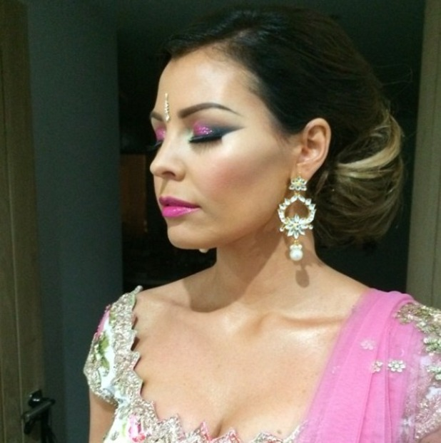 Jess Wright shows off her make-up for Jasmin Walia's TOWIE Diwali party, 27 October 2014