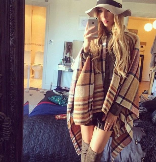 Lauren Pope in checked Topshop cape, Instagram, 27/10/14