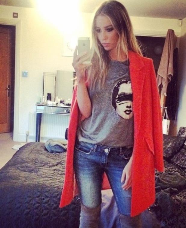 Lauren Pope in orange coat, Instagram, 29/10/14