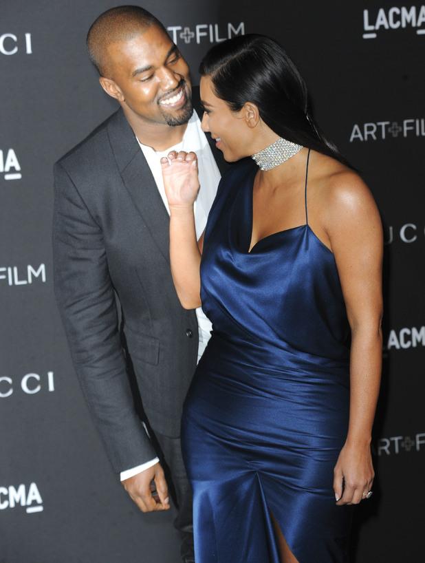 Kim Kardashian and Kanye West attend 2014 LACMA Art + Film Gala honoring Barbara Kruger and Quentin Tarantino presented by Gucci at LACMA, 1 November 2014