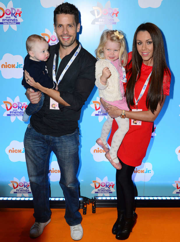 Hugh Hanley and Michelle Heaton attend 'Dora and Friends: Into The City' TV show premiere with their children Faith and Aaron, 2 November 2014