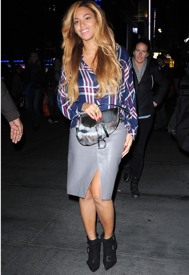 beyonc 233 works leather pencil skirt and checked shirt