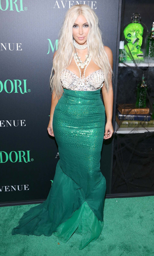 Kim Kardashian dressed as a mermaid for Halloween on 27 October 2014