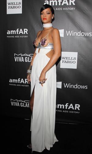 Rihanna at amfAR Inspiration Gala in LA on 29 October 2014
