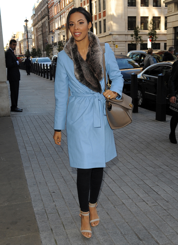 Rochelle Humes wears powder blue coat on 28 October 2014 outside Radio 1 studios