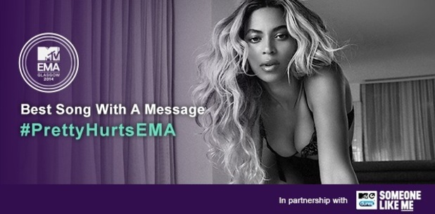 Beyoncé leads nominees for MTV EMAs new award 'Best Song With A Message' 4 November