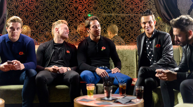 The Only Way is Essex' cast filming, 'Boys Night Out', Britain - 05 Nov 2014 Lewis Bloor, Tommy Mallet, James Locke, Bobby Cole Norris, Mario Falcone in the VIP lounge, Seen, Essex.
