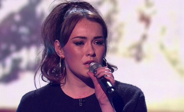 Lola Saunders performing '(You Make Me Feel Like) A Natural Woman' during the sing-off on the results show of 'The X Factor'. Shown on ITV1 HD.