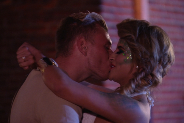 The Only Way is Essex cast - Georgia Kousoulou and Tommy Mallett kiss at the Halloween party.