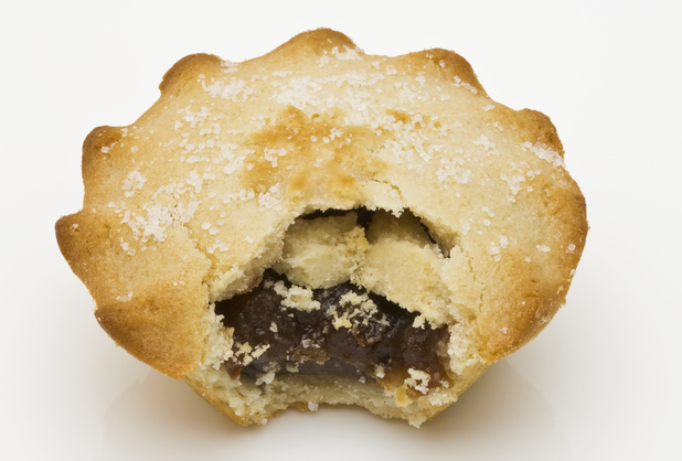Mince pie with bite taken from it