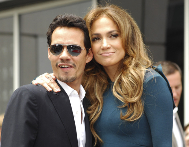 Marc Anthony and Jennifer Lopez attend as Simon Fuller receives a star on the Hollywood Walk of Fame. 5 November 2014.