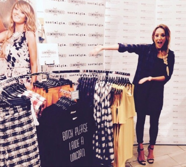 Charlotte Crosby poses with her new clothing range 'Nostalgia' at Bank Fashion, Manchester, 4 November 2014