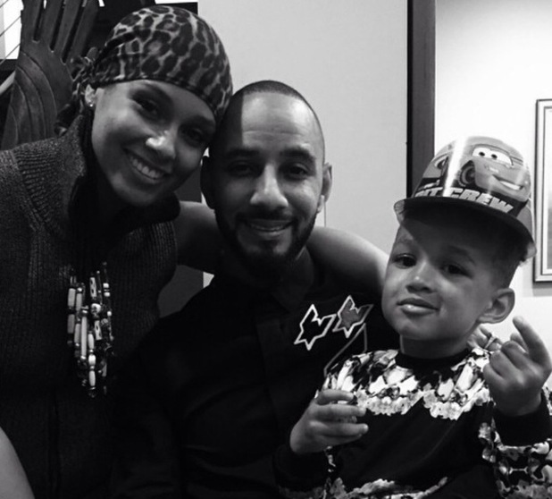 Alicia Keys with husband Swizz Beatz and son Egypt 14 October