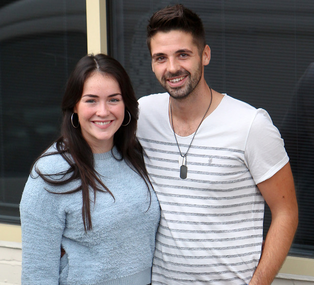 Lola Saunders and Ben Haenow - X factor finalists take a break from rehearsals for this week's live show outside the studio - 16 Oct 2014