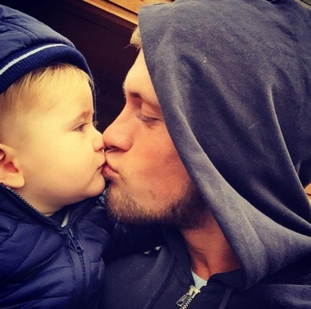 Dan Osborne kisses son Teddy 5 November