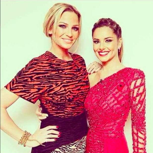 Sarah Harding and Cheryl Fernandez-Versini are reunited backstage on The X Factor, 8 November 2014
