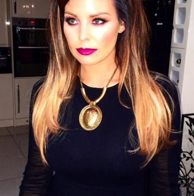 Jessica Wright flaunts bright purple lippy (NYX Cosmetics), 5 November 2014