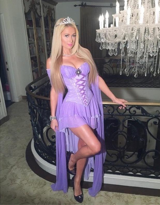 Paris Hilton dresses up as Rapunzel for a Halloween party - 1 November 2014