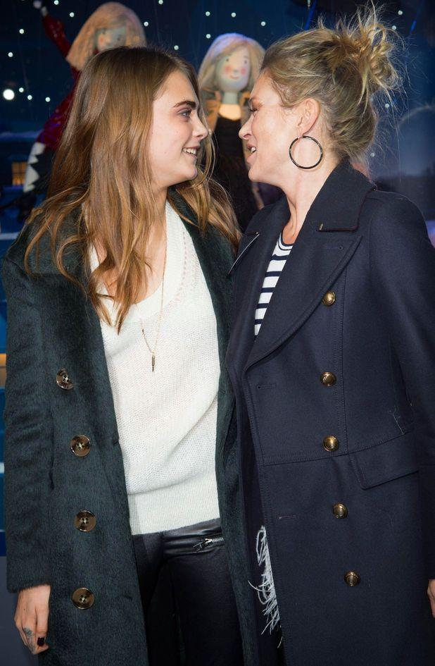 Kate Moss and Cara Delevingne at the Printemps Christmas Decorations Inauguration, Paris. 6 November 2014